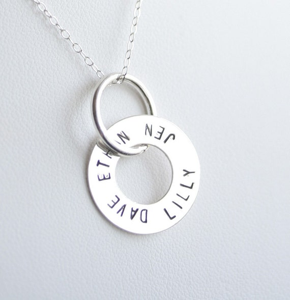 Personalized Open Circle Sterling Silver Washer Pendant and Necklace