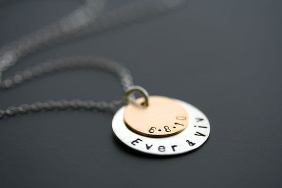 Two Tone Personalized Stacking Necklace in Gold Filled and Sterling Silver - 2 Discs