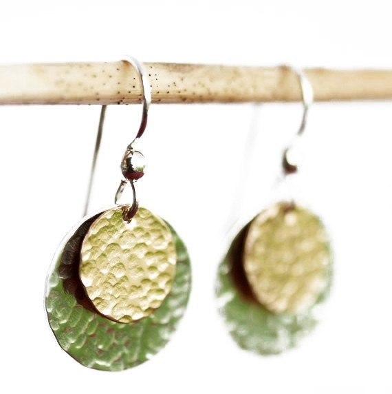 Hammered Two Tone Stacked Disc Earrings - Sterling Silver and Gold Filled