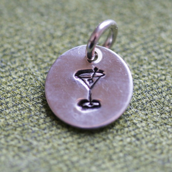 Tiny Sterling Silver Accent Charm - Martini Drink