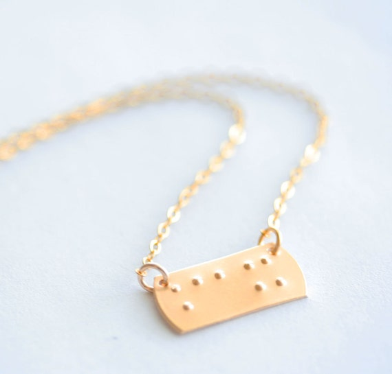 Near Your Heart Personalized Braille Horizontal Petite Rectangle Choker Necklace in 14K Gold Filled