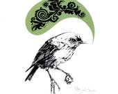 New Zealand Robin Print in Green