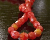 Persimmon Coral Czech Glass Bead 4mm Round - 50 - BobbiThisnThat
