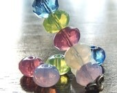 Czech Glass Bead 9x6mm Puffy Faceted Donut  Mix : 10 pc