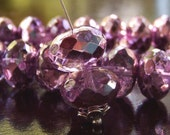 Czech Bead 9x14mm Puffy Faceted Violet Rose Metallic Ice Rondelle : 6 pc Purple Pink Large Rondelle