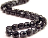 Jet Black  Czech Bead Glass 4mm  Faceted Round : 50 pc Black 4mm Round