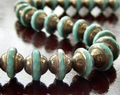 Turquoise Bronze Czech Glass Bead 8x10mm Flying Saucer : LAST 7 pc