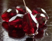 Dark Garnet Czech Glass  Bead Faceted 13x10mm Teardrop - 6 pc