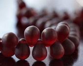 Matte Garnet Czech Glass Bead 8x6mm Teardrop : 50 pc Red Tear Drop