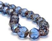 Sapphire Blue Picasso Czech Glass Bead 6mm Renaissance : LAST 24 Czech Beads