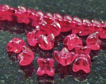 Czech Glass 5mm Siam Ruby Four Petal Flower Caps : 50 pc