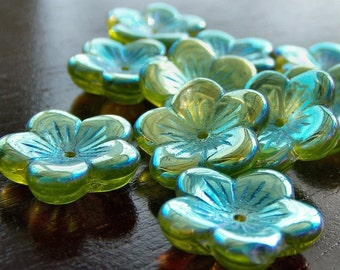 Czech Glass Bead Olivine AB 16mm Flower : 10 pc Large Green Flower