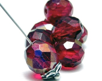 10mm Czech Glass Bead Ruby Azuro Faceted Round :  12 pc