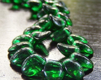 Emerald Green Czech Glass 6x8mm Flower Petal Bead - 25