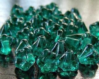 Teal Green Czech Glass 4x6mm Baby Bell Flower - 30