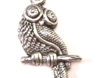 Pewter Antique Silver Owl Charms - Two