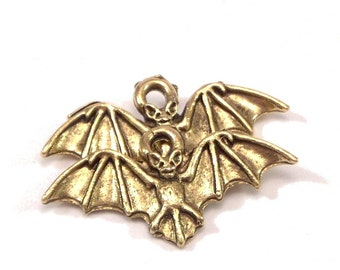 Batty Bat 12x23mm Gold Plated Pewter Charms : 2 pc
