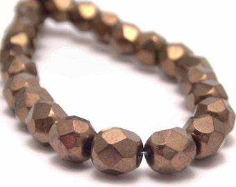 Czech Bead 6mm Dark Bronze Faceted Round Bead - 25 Metallic Bronze Czech Glass Beads