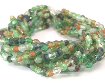Czech Hurricane Glass Beads 3mm Faceted Round  Bead Autumn Forest Mix - 50