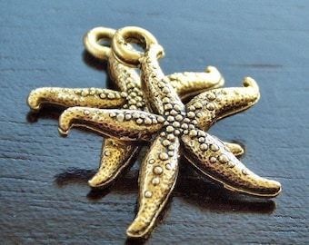 Gold Plated Pewter Starfish Charm : 2 pc Sea Star Charm