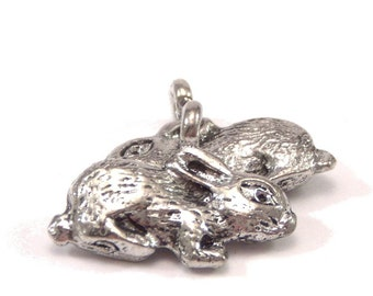 Bunny Rabbit Pewter Charm : 2 pc