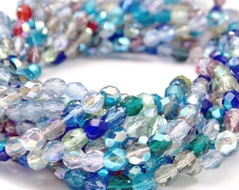 Czech Glass Beads 4mm AB Multi Mix : 50 pc