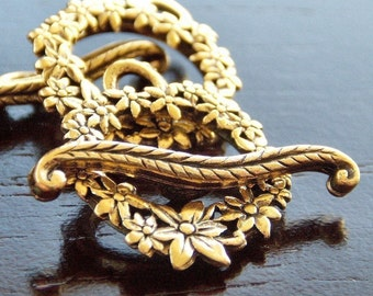 Gold Plated Pewter Floral Wreath Toggle Clasp : 2 Sets Floral Crown Toggle