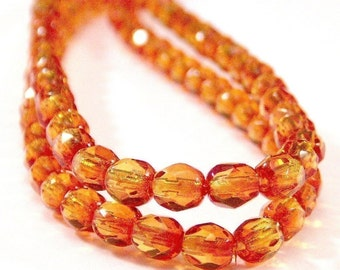 Fire Opal 4mm Czech Glass Bead Faceted Round : 7 inch Strand