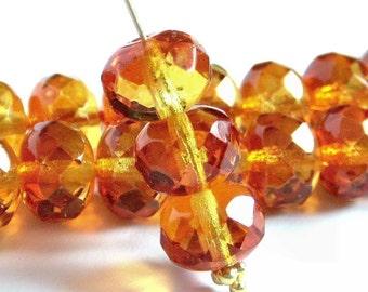 Fire Opal Czech Glass Bead 9x6mm Puffy Faceted Rondelle : 12