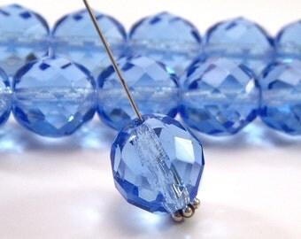 Transparent Sapphire 12mm Czech Glass Faceted FP Round - 10 pieces