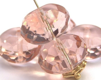 Light Pink Czech Glass Bead 9x14mm Puffy Faceted Rondelle : 6 pc Pink Rondelle
