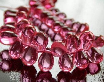Hot Pink Czech Glass Bead 9x6mm Teardrop : 25 pc