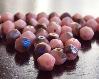 Sugar Plum Czech Glass Bead 6mm Pink Azuro Round : 25 pc