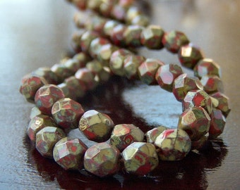 Red Picasso Czech Glass Bead 4mm Round : 50 pc Red Round Bead