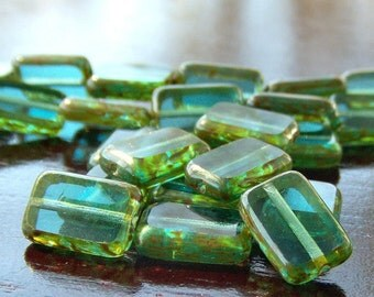 Teal Picasso Czech Glass Bead 8x12mm Rectangle :  12 pc Teal Rectangle