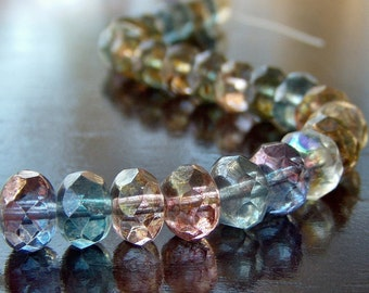 Czech Glass Bead 9x6mm Faceted Luster AB Mix Donut - 12 Pc Rondelle Mix