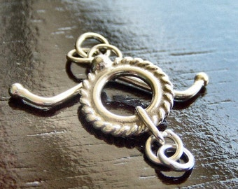 Bali Sterling Silver 10mm Twisted Toggle Clasp : 1 Clasp