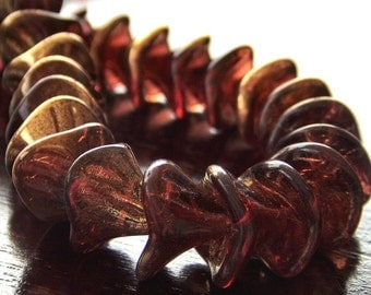 Golden Merlot Czech Glass Three Petal Flower Bead : 10 Marsala Beads