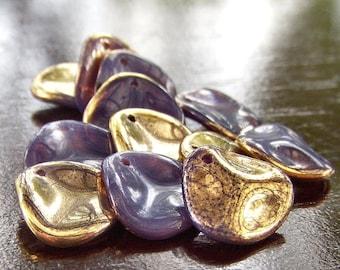 Czech Glass Bead 14mm Rose Petal Milky Amethyst  : 12 Pc Purple Rose Petal Bead