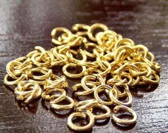 22g Gold Plated 4mm Open Jump Ring - 100 pc