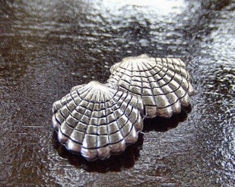 Scallop Shell 10x10mm Pewter Charm - Two