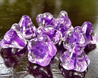 Violet Crystal Czech Glass Bead 11x13mm  Bell Flower - Ten