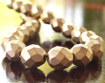 Matte Metallic Flax Czech Glass Bead 8mm Round : Full 7 Inch Strand