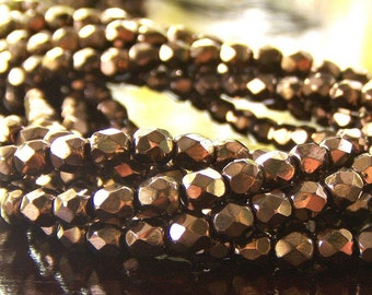 Metallic Bronze Czech Glass Bead Faceted 4mm Round : 50 pc Bronze 4mm Bead