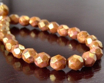 Czech Glass Bead 6mm Rose Gold Topaz Faceted Rounds : 25 pc full strand
