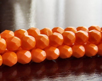 Bright Orange Czech Glass Bead 6mm Faceted Round - 25 pc