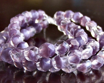 LIlac Cloud Czech Glass Bead 6mm Faceted Round : 25 pc