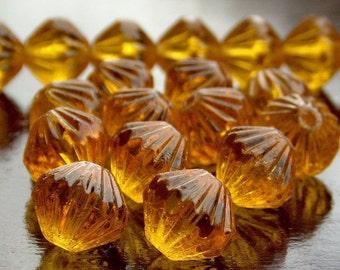 Czech Glass LIght Topaz 9mm Fluted Bead : 12 pc