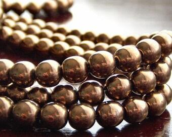 Dark Bronze Metallic 6mm Czech Glass Bead Round Druk : 50 pc