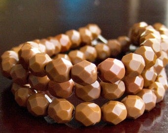 Czech Glass Bead Umber 6mm Faceted Round - 25